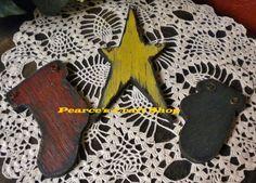 Star Stocking Mitten Barnwood Ornament Set by PearcesCraftShop