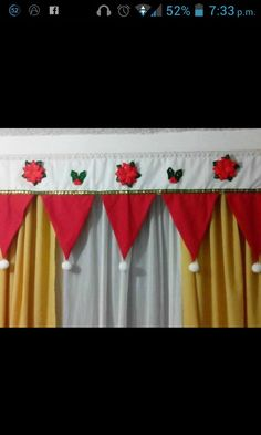Cortinas de navidad Application Pattern, Diy Hacks, Valance Curtains, Christmas Decorations, Quilts, Sewing, Handmade, Home Decor, Holiday Decorating