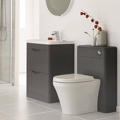Premier Eclipse vanity unit pack 1 in midnight grey woodgrain finish with 600mm vanity unit, basin and 550mm back to wall WC unit. Now only £659 at Taps4Less