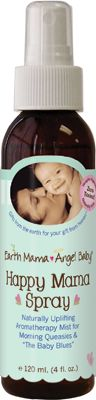 Happy Mama Spray - smells of lime and ginger, vaguely reminds me of a margarita! This spray is calming, and I use it when baby is fighting sleep. All organic!