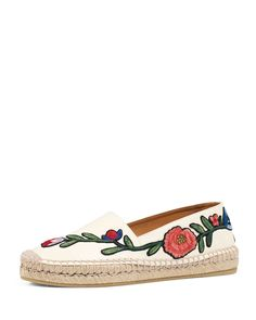 Gucci Pilar Embroidered Espadrille Flat