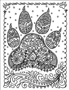 INSTANT Download Dog Paw Print You be the Artist by ChubbyMermaid
