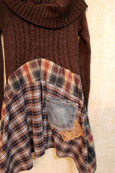 REVIVAL Boho Knit Shirt, Bohemian Junk Gypsy Style, Mori Girl, Lagenlook, Cowgirl Country Girl Chic, Free People Style, Anthropologie Inspired, Grunge Plaid Rocker
