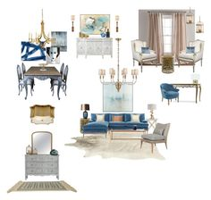 """blue French living"" by nhousedesigns-bynicole on Polyvore featuring interior, interiors, interior design, home, home decor, interior decorating, Serena & Lily, John-Richard, AERIN and Pottery Barn"