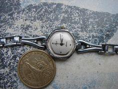 Soviet Vintage LUCH Ladies Quartz Wrist Watch with chromed brass bracelet made in USSR era 1980s.  Watch comes straight from watchmaker workshop, was