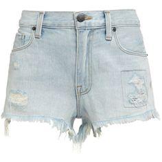 Genetic Denim Crush Stevie Denim Shorts (€78) ❤ liked on Polyvore featuring shorts, bottoms, pants, short, light blue, jean cutoff shorts, distressed jean shorts, summer shorts, cut-off und cut off jean shorts