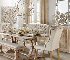 60 Lasting French Country Dining Room Decor Ideas - Home French Country Dining Room, French Living Rooms, Farmhouse Dining Room Table, Dining Room Table Decor, Dining Room Design, Dining Room Furniture, Dining Chairs, Country Living, Cream Dining Room