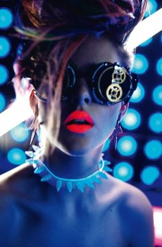and the subcultures drip into each other!  cyber steampunk raver with 50's lips