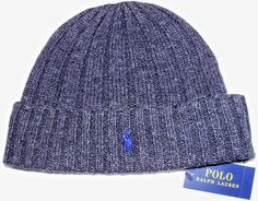 NWT POLO RALPH LAUREN Charcoal Ribbed Knit Logo Beanie Ski Hat Skull Cap  Cuff  fashion 7068977b21fc