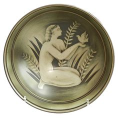 """Nude with Dove,"" Rare Art Deco Bowl by Nylund for Rorstrand at 1stdibs"