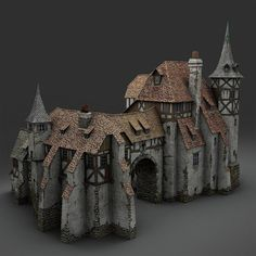 old medieval warehouse 3d obj