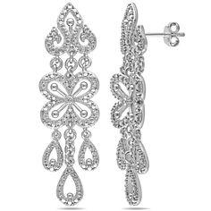 Miadora Sterling Silver Diamond Chandelier Dangle Earrings, Women's