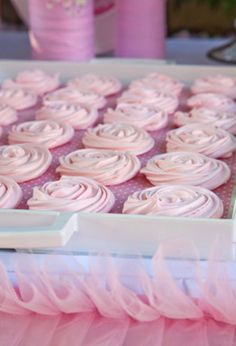 Rose meringues from Petit Gateau's Little Ballerina party table. Photo by Daniel Layla