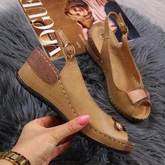 Casual Peep Toe Suede Slip On Elastic Sandals - Getcomfyshoes Trendy Sandals, Cute Sandals, Ankle Strap Sandals, Cute Shoes, Wedge Sandals, Leather Sandals, Wedge Shoes, Me Too Shoes, Peep Toe