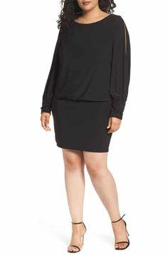 919310bca6 Save the Xscape Embellished Cuff Blouson Jersey Dress (Plus Size) Plus Size  Fashion For
