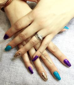 Purple turquoise and gold coffin nails