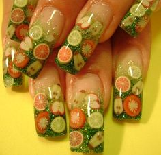 Gel Nail Designs Ideas with Healthy Fruit Themes