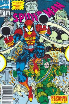Spider-Man #20 March, 1992 Erik Larsen Story And Artwork. Nova finds Spider-Man floating in the Ohio River thanks to a tip from the police band radio that is inside of his helmet. Spidey explains what happened and assures Nova he'll be fine.