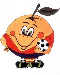 NARANJITO 82 : Naranjito fue la mascota de la Copa Mundial de Fútbol organizada por España en 1982. El personaje representaba una naranja, fruto típico del levante español, vestida con el uniforme de la selección de fútbol de España y con un balón de fútbol bajo el brazo izquierdo.    Aunque su presentación como mascota generó más comentarios negativos que elogios, con el paso del tiempo fue ace