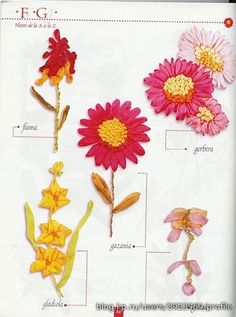 Talk to LiveInternet - Russian Service Online Diaries Ribon Embroidery, Ribbon Embroidery Tutorial, Embroidery Stitches, Embroidery Patterns, Ribbon Flower Tutorial, Brazilian Embroidery, Ribbon Work, Flower Crafts, Craft Flowers