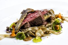 Beef, mushrooms, pasta