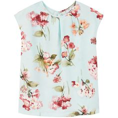 Floral Print Top (€16) ❤ liked on Polyvore featuring tops, shirts, flower print tops, mango tops, blue short sleeve shirt, blue top and floral shirts