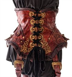 Handcrafted Leather Steampunk Corset with Holsters by Blackwater Leather Via Angel Clothing Steampunk Cosplay, Chat Steampunk, Mode Steampunk, Style Steampunk, Steampunk Pirate, Steampunk Corset, Steampunk Design, Steampunk Clothing, Steampunk Fashion