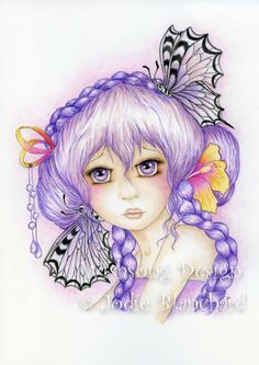 Anime style big eyed butterfly girl fine art print, 8.5 x 12 inch print by WishsongDesign for $20.00