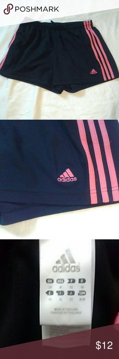 Adidas shorts with pink stripes medium EUC size medium, elastic drawstring waist 14 inches, inseam 3 inches Adidas Shorts