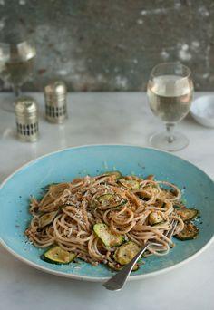 Spaghetti with zucchini & lemony, garlic crumbs | Drizzle and Dip