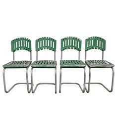Set of 4 Mint Green Aluminum Patio Chairs C1940s Sold as a set of 4.