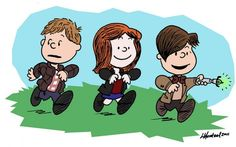 Rory, Amy and The Doctor envisioned as Peanuts characters...my girl thought this was soooooo cute!!!!!