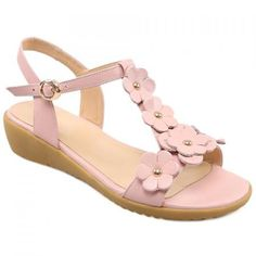 Sweet Floral and T-Strap Design Women's Sandals