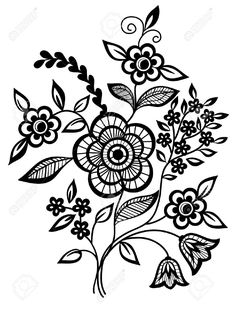 Black And White Flowers Leaves Design Element Royalty Free