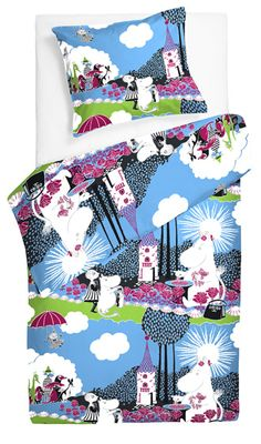 Moomin bed linen from Finlayson Finland Tove Jansson, Toddler Rooms, Kids Rooms, Wall Mounted Tv, Pink Turquoise, Linen Bedding, Bed Linen, Duvet Sets, Box Design
