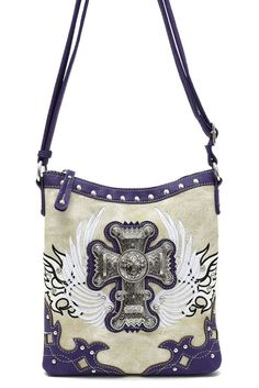 Western Cowgirl Angel Wing With Cross Accented Messenger Bag #GetEverythingElse #MessengerCrossBody