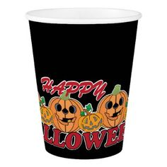 Happy Halloween with Row of Grinning Pumpkins Paper Cup - halloween decor diy cyo personalize unique party