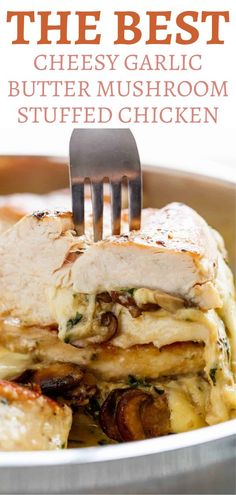 The Best Cheesy Garlic Butter Mushroom Stuffed Chicken—the perfect hearty dinner recipe the whole family will love. There's nothing better than a delicious cheesy butter mushroom stuffed chicken. Take your traditional chicken dinner to another level with this tasty recipe! #chicken #mushrooms #dinnerrecipes Entree Recipes, Grilling Recipes, Easy Dinner Recipes, Cooking Recipes, Dishes Recipes, Dinner Ideas, Keto Recipes, Savoury Dishes, Food Dishes