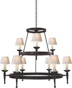 Circa Lighting DORSET TWO-TIER CHANDELIER WITH TORCH ARM. 3150.00 retail (varies w/finish).