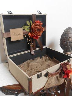 Burlap Suitcase Wedding Cardholder / Rustic Wedding Card Holder / Burlap Fall Wedding Decoration