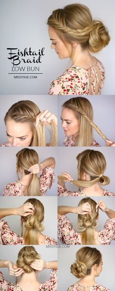 fishtail braid low bun hair tutorial