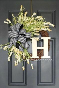 Summer Wreath - Front Door Wreaths - White Wedding Wreath - Wreaths for Front Door - White Tulip Wreath - Housewarming Gift - Wedding Decor Farmhouse WreathFront Door WreathGrapevine WreathRustic Front Door Decor, Wreaths For Front Door, Front Doors, Initial Door Wreaths, Letter Wreath, Front Door Signs, Diy Wreath, Grapevine Wreath, Wreath Making