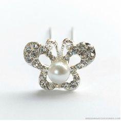 Butterfly Pearl Diamond Wedding Headpieces