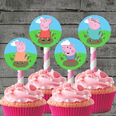 6pc Peppa Pig Cupcake Toppers Kids Party by PartyPrintableInvite