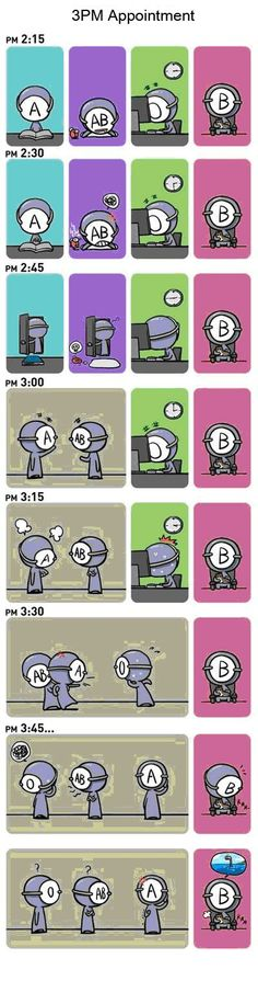 Check the other two too… New Blood Type Comic Blood Type Comic – Overview  Blood Type Personality Comic Strip 1. 3 PM Appointment 2. Appointment 3. Temptation 4. Conversation I 5.…