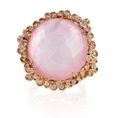 Rose Quartz And Diamond Gold Dress Ring   Swag Jewellers