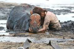 Touching story of the love between a women and her horse. Nicole Graham held her horses head above muddy sand for 3 hours until rescue came.