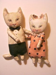 cat art.....two art dolls , cute .... little I made these cats at the same time ... using the same colors They go together This listing is for the