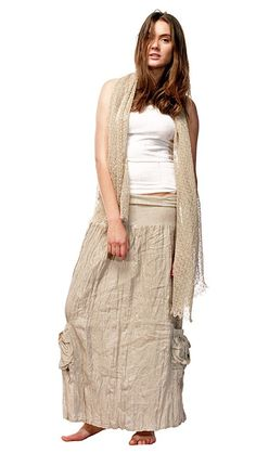 SKIRT LINEN LONG FLAX DRESS MADE IN EUROPE CRINKLED UNIQUE ORGANIC S M L XL 2X #HANDMADEINEUROPE #PeasantBoho