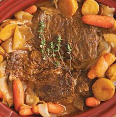 Haul out the slow cooker for Pot Roast with Thyme. A beef bottom roast cooks all day wtih onions, thyme, carrots and potatoes. Don't skip the gravy-making step. Those juices are delicious!